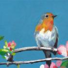 ציפור על ענף פורח